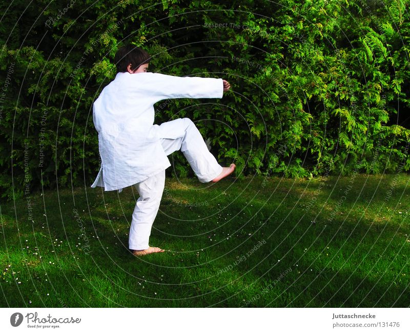 Child White Green Sports Boy (child) Jump Contentment Japan Sports Training Sporting event Blow Competition Practice Beat Martial arts Defensive