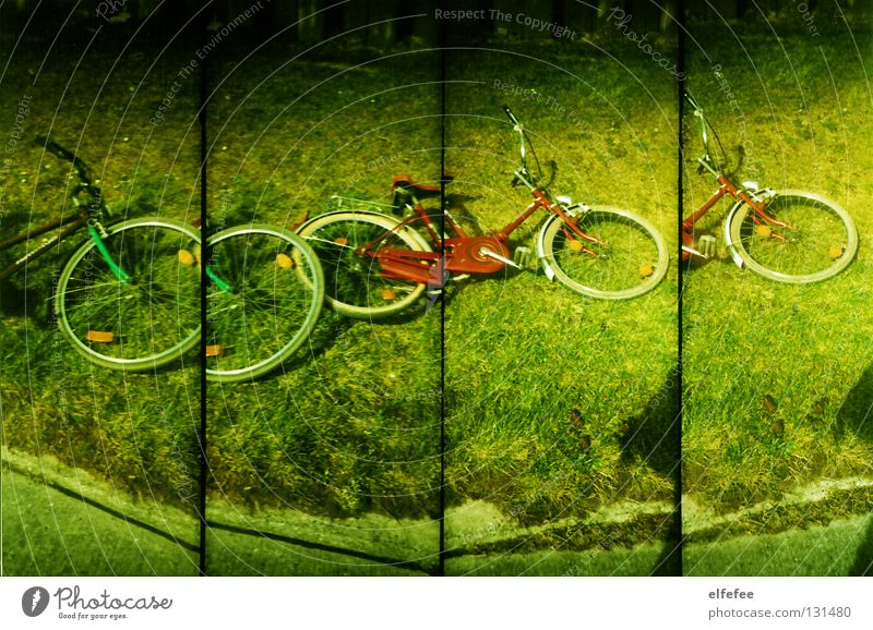excursion to the sea. Bicycle Red Green Scrap metal Building rubble Grass Summer Effort Accident Pedal Round 4 Trip Lomography Old Wind Floor covering Joy Lie