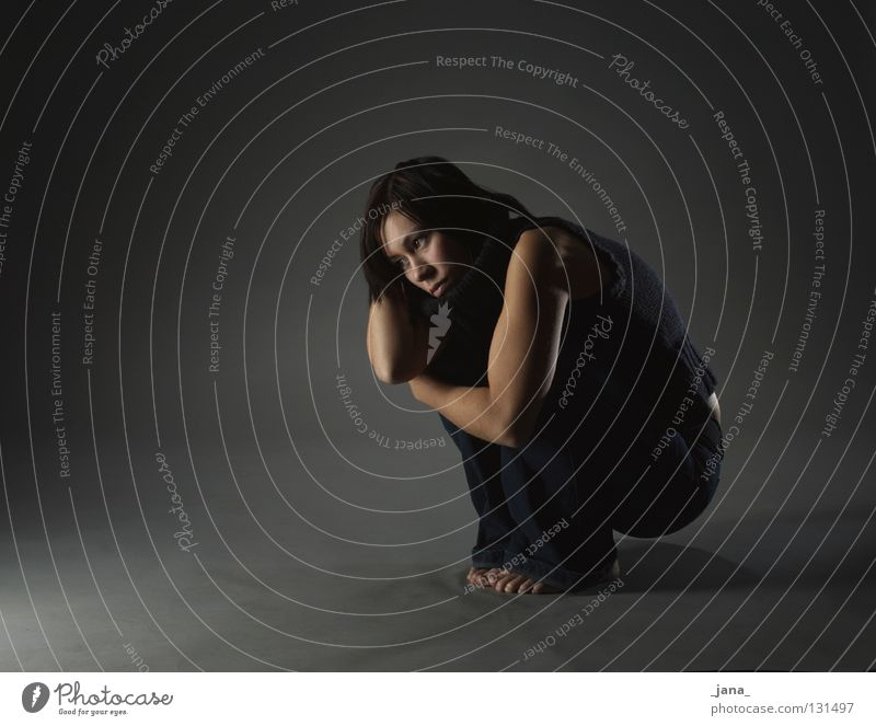darkness Concern Woman Gesture Posture Dark Black Gray Full-length Grief Distress Fear Shadow