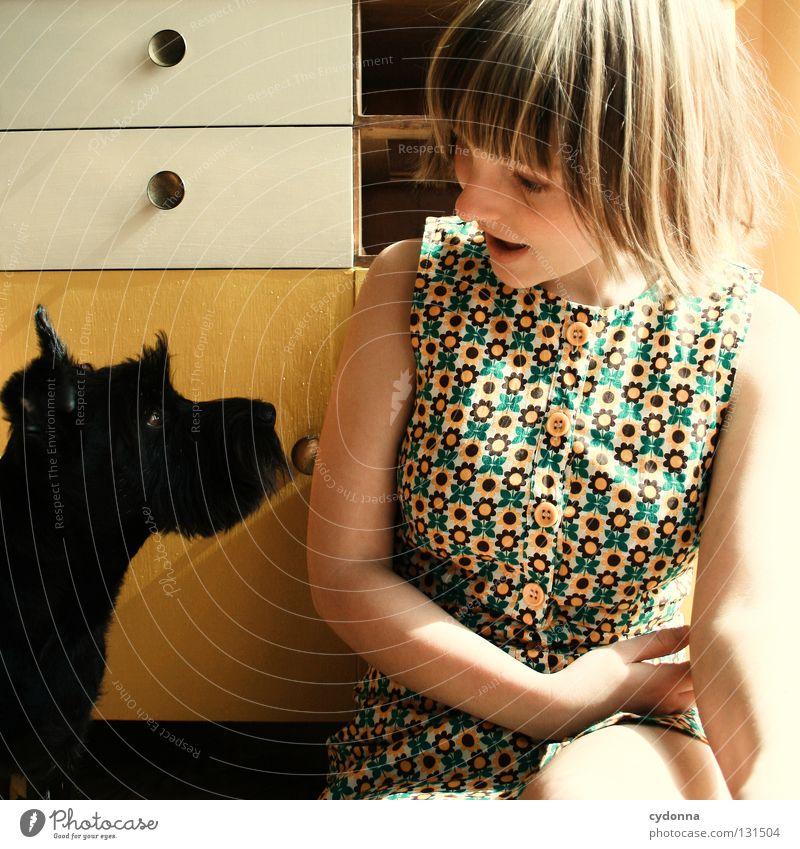 Human being Woman Dog Animal Girl Black Yellow Emotions To talk Small Friendship Glittering Study Cute Sweet Curiosity