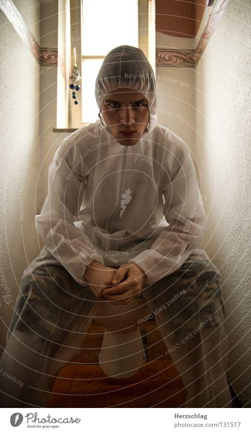 White Joy Fear Crazy Sit Posture Clean Pure Toilet Suit Testing & Control Evil Frightening Superior Criminal Investigate