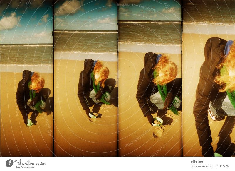 Woman Sky Joy Vacation & Travel Beach Ocean Clouds Cold Playing Sand Blonde Wind North Sea Curl Hollow Scarf