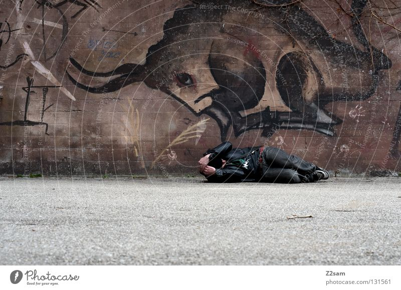 Human being Man City Animal Dark Wall (building) Style Above Graffiti Brown Concrete Cool (slang) Jeans Dangerous Threat Lie