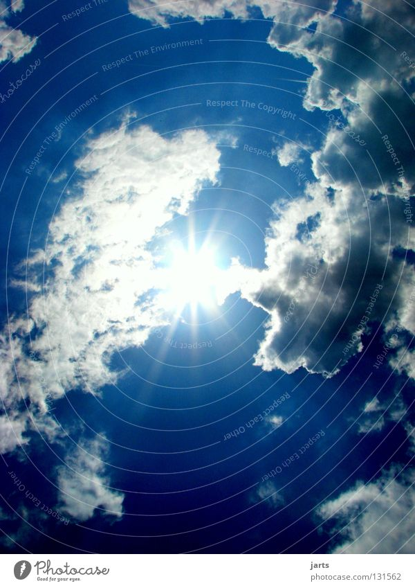 Sky Blue Summer Sun Clouds Hope Solar Power Celestial bodies and the universe Renewable energy