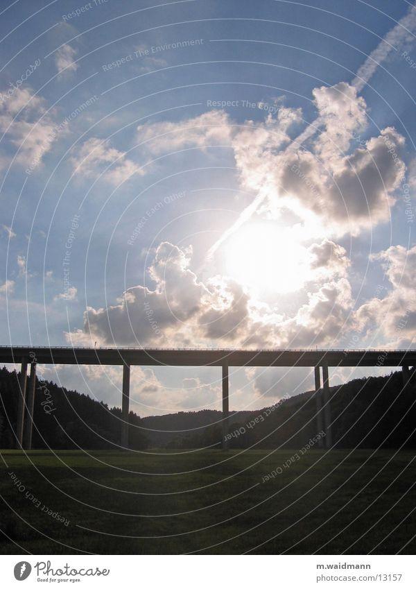 Sun Clouds Forest Meadow Concrete Bridge Highway Column Valley