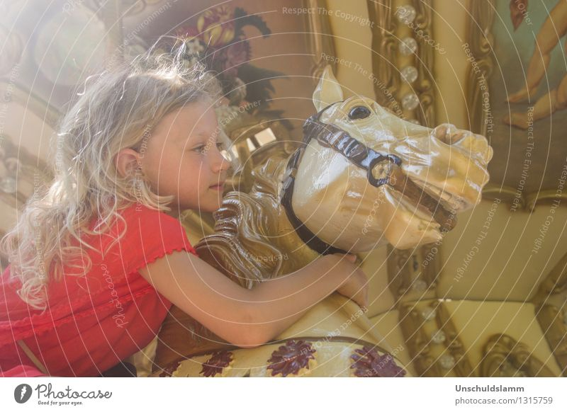 Chez Caramel II Human being Child Girl Infancy Life 3 - 8 years Collector's item Carousel Hobbyhorse Touch Embrace Esthetic Kitsch Cute Retro Gold Emotions