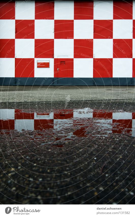Small-minded Reflection Asphalt Facade Abstract White Red Checkered Square Pattern Background picture Gray Black Airport Detail Water Rain Door Shadow
