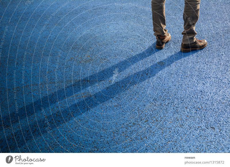 Human being Blue Masculine Stand Wait Asphalt Boredom
