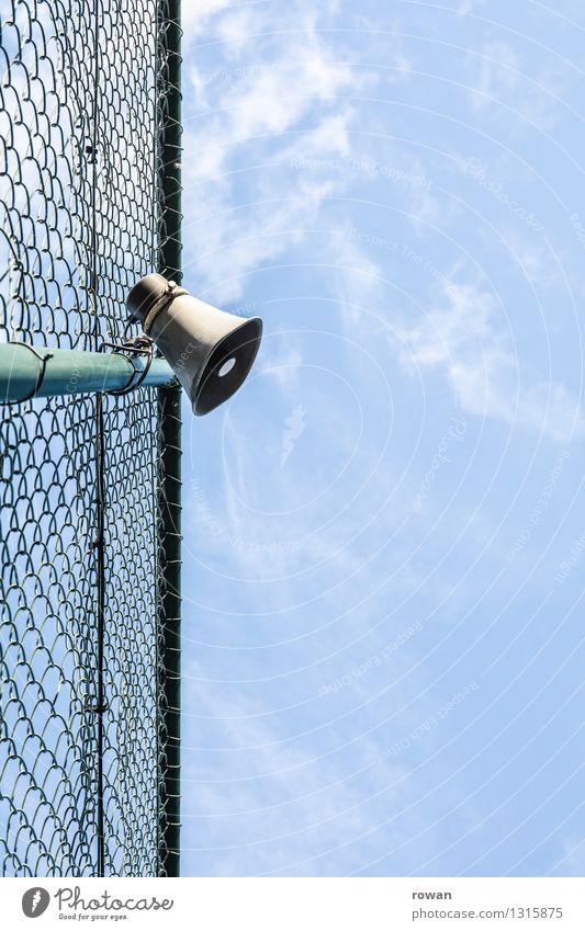 loudspeakers Loudspeaker Observe Communicate Fence Barrier Border Wire netting Volume Clang Testing & Control Assignment Command Information Communication