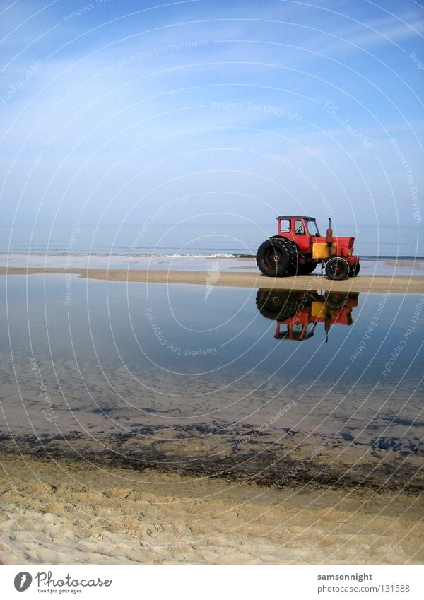 Water Ocean Blue Red Summer Calm Sand Tractor