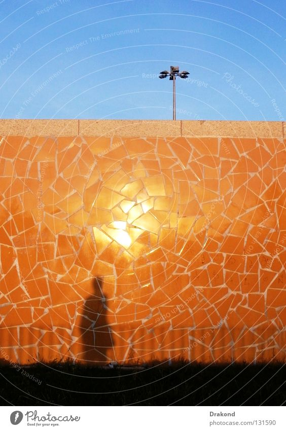 Woman Human being Man Sky Blue City Calm Yellow Work and employment Wall (building) Wall (barrier) Landscape Orange Glittering Corner Clarity