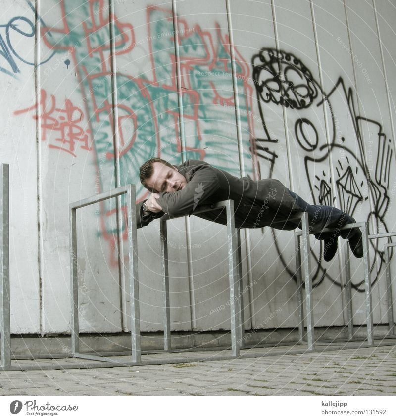 Human being Man Clouds Calm Relaxation Life Wall (building) Graffiti Architecture Dream Sleep Lifestyle Break Bed Bench Education