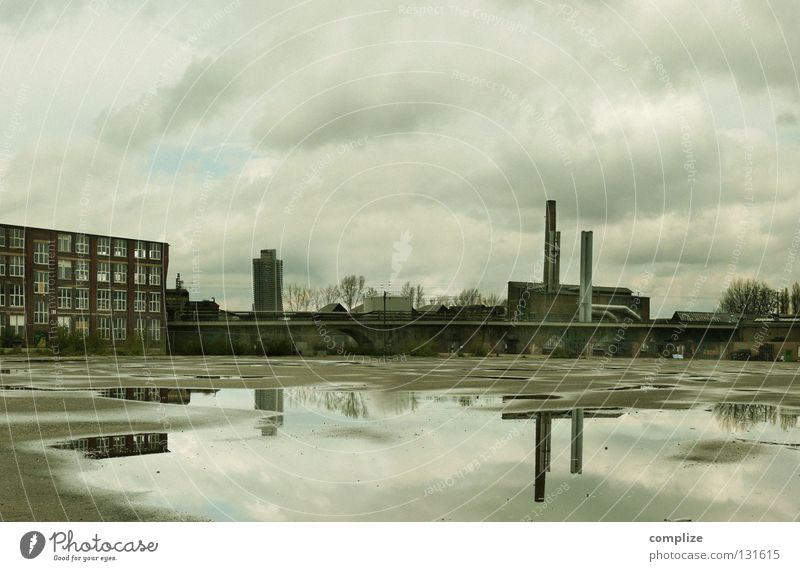 Loneliness House (Residential Structure) Dark Sadness Gloomy High-rise Large Places Industry Derelict Ruin Chimney Cologne Puddle Crisis Industrial plant