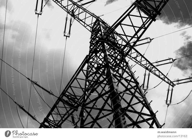 Sky Clouds Power Metal Wind Energy industry Electricity Technology Cable Electricity pylon Transmission lines Provision Electrical equipment