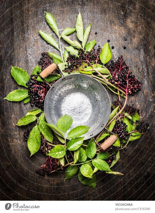 Empty saucepan and elderberries Food Fruit Nutrition Organic produce Vegetarian diet Diet Juice Pot Style Design Alternative medicine Healthy Eating Life Summer