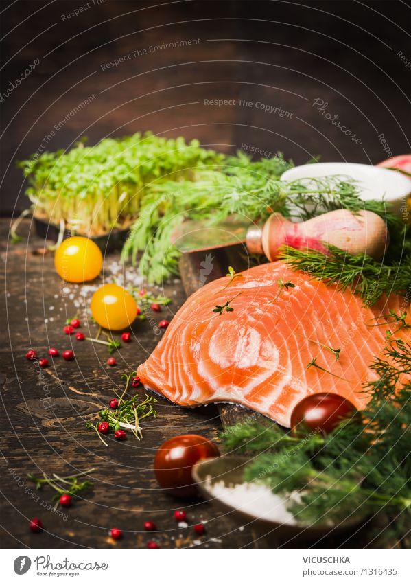 Fine salmon fillet with fresh herbs for cooking Food Fish Vegetable Herbs and spices Cooking oil Nutrition Dinner Banquet Organic produce Vegetarian diet Diet