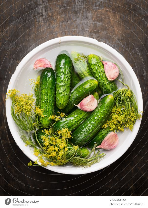 Bowl with pickled dill cucumbers Food Vegetable Herbs and spices Nutrition Organic produce Vegetarian diet Diet Style Design Healthy Eating Life