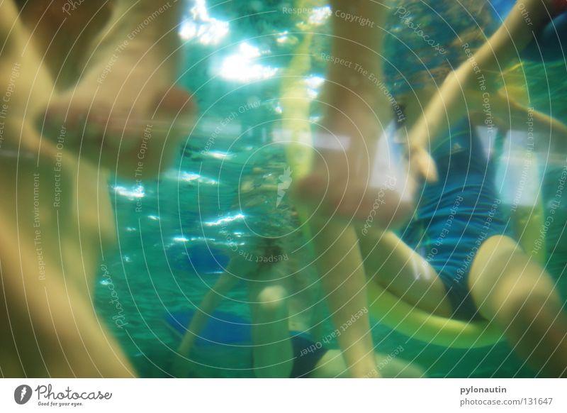 deep-sea legs Swimming pool Knee Toes Light Dive Turquoise Hand Upper body Drown Air Ocean Vacation & Travel Nixie (Water Spirit) Lake Shoulder Girl Swimsuit