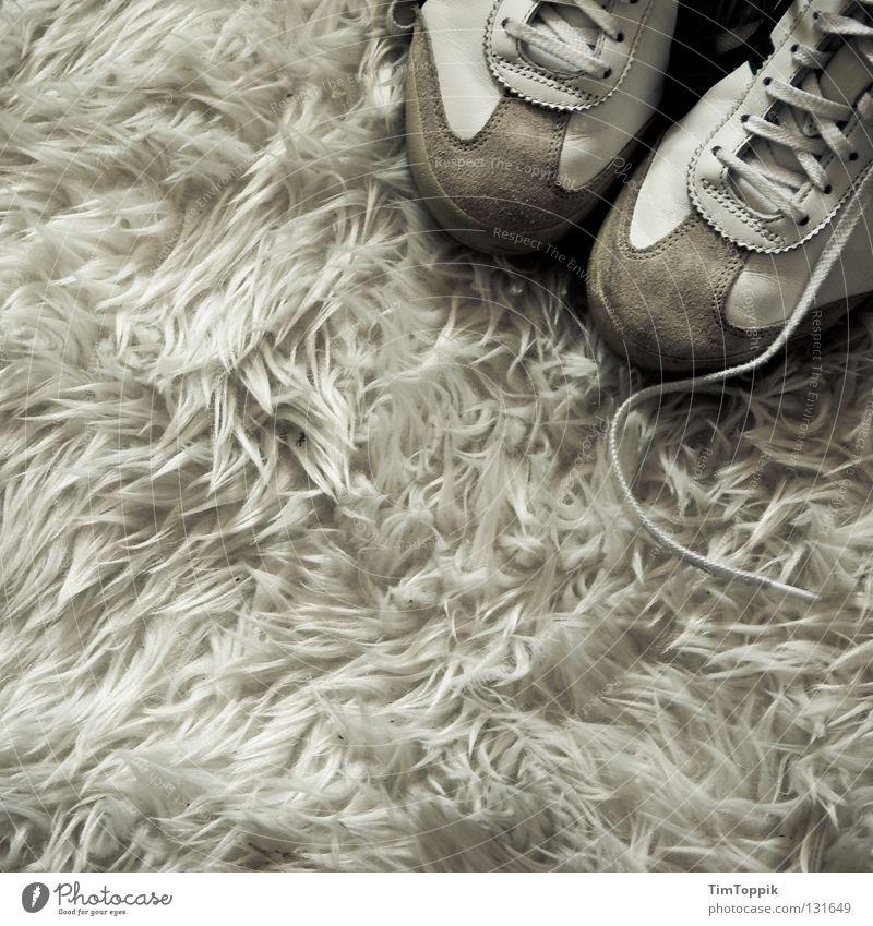 Sneak on my flocati Carpet Footwear Sneakers Flock carpet Shoelace Living room Bushy Soft White Tasteless Seventies Clothing Interior design flokatite carpet