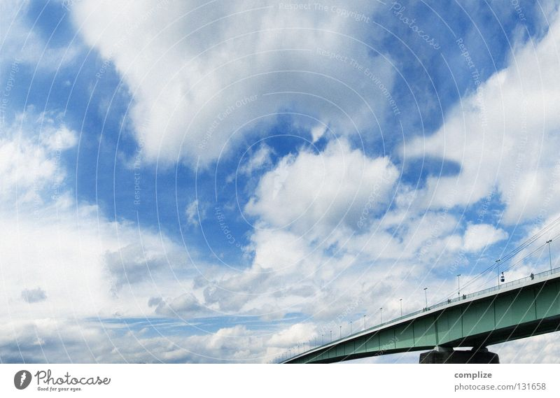Sky Green Sun Clouds Far-off places Large Aviation Bridge Communicate To go for a walk River Handrail Sidewalk Connection Cologne Blue sky