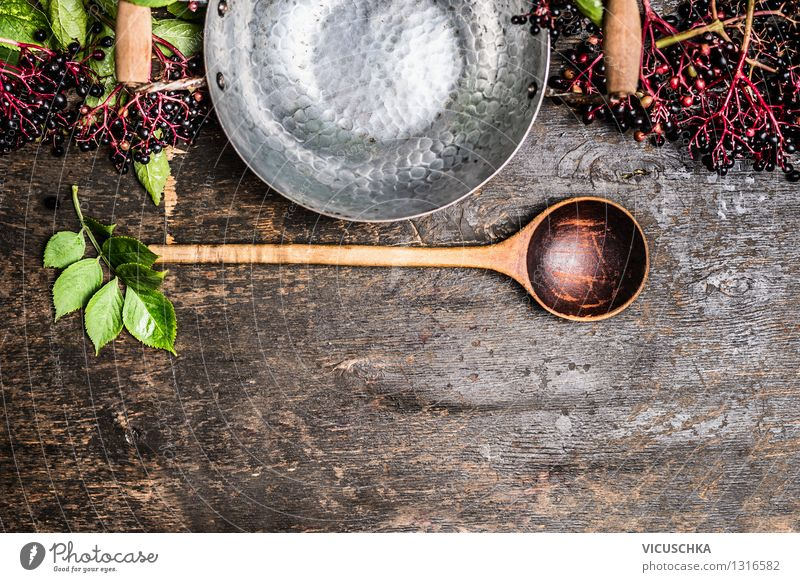 Elderberries with empty pot and spoon Food Fruit Jam Nutrition Organic produce Vegetarian diet Diet Juice Pot Spoon Style Design Healthy Eating Life Summer