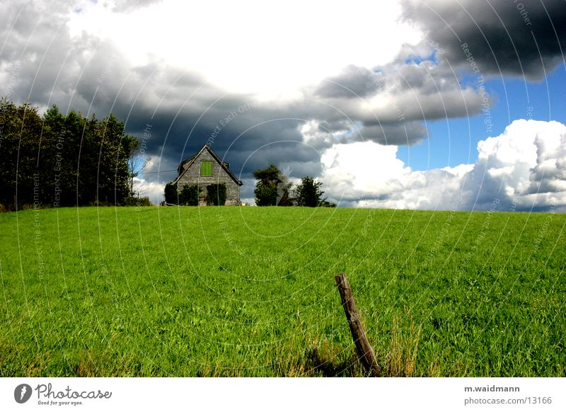 equal thunderts Meadow Fence Clouds Summer Green House (Residential Structure) Tree Mountain Sky Hut Wind