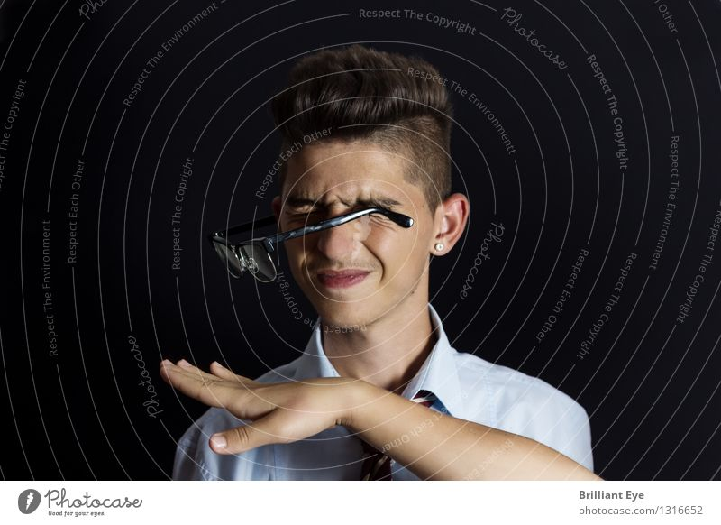 Slap in the face meets glasses Elegant Style Profession Office Business Human being Young man Youth (Young adults) Hand Fingers 1 Argument Authentic