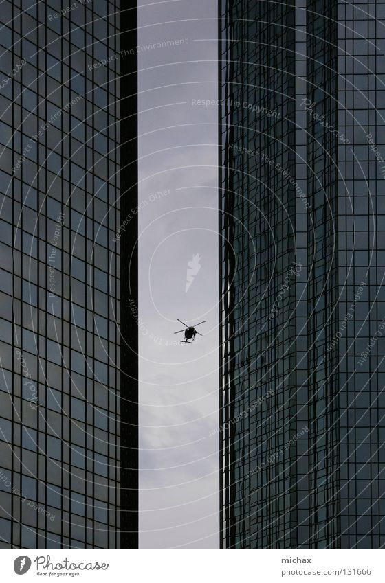 Can I get through? Helicopter High-rise Frankfurt Gray Narrow Reflection Aviation Sky Between Glass