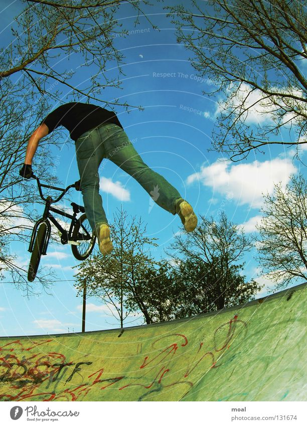 Bicycle Flying Free Crazy Action Fantastic Extreme BMX bike Bavaria Stunt Sports ground Extreme sports Garching