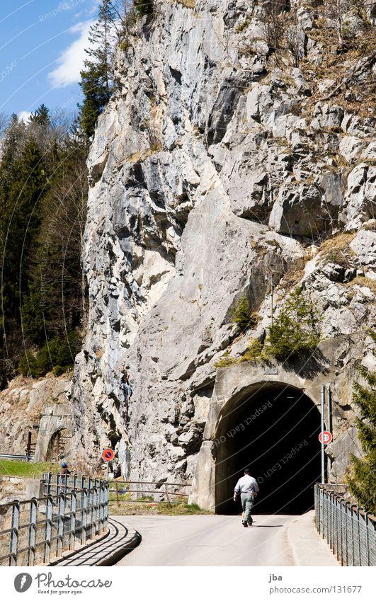 Man Joy Forest Dark Stone Going Rock Bridge Climbing Handrail Fir tree Tunnel Tar Rescue Steep Mountaineer