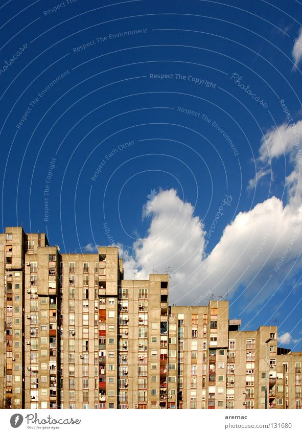 residential silos Town House (Residential Structure) High-rise Flat (apartment) Facade Social Clouds Window Suburb Belgrade Serbia Sky Boredom