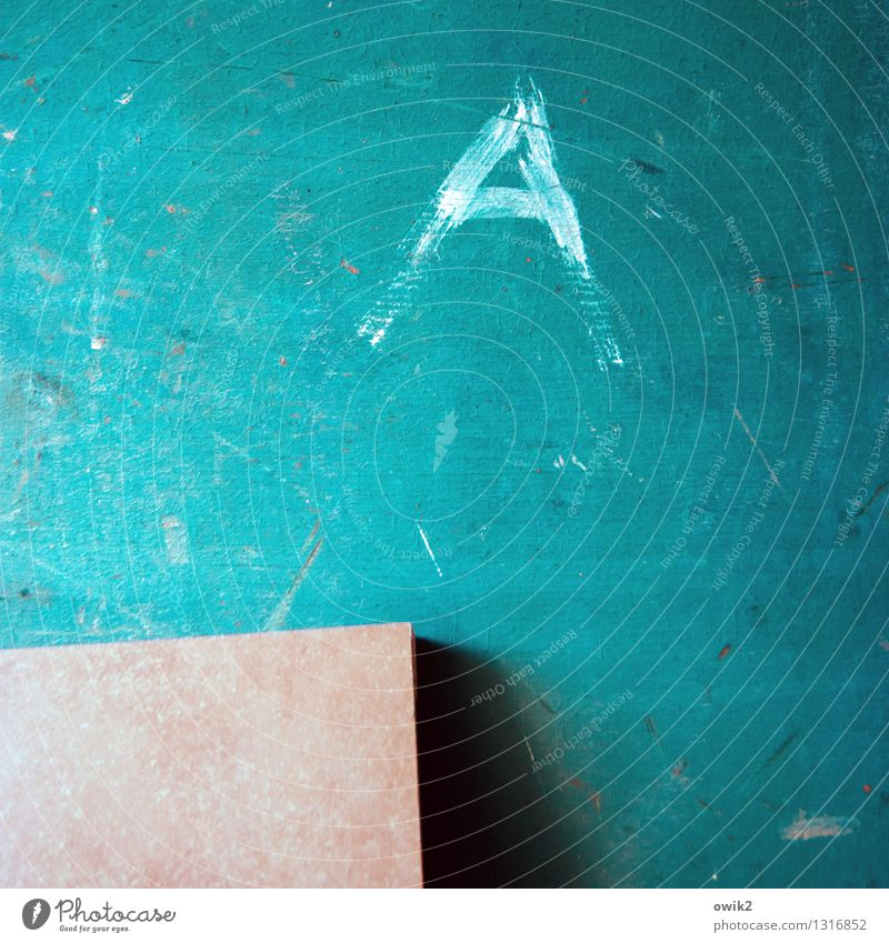 ALL BEGINNINGS Characters Old Simple Small Near Trashy Gloomy Turquoise Sharp-edged Wood Blackboard Scribbles Damage Transience Derelict Scratch mark Blue