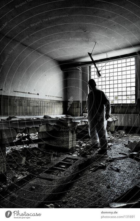 CSI Man Fellow Stand Loneliness Crime scene Building rubble Window Light Dark Suit Bathroom Sink Destruction Trash Devastated Derelict crime investigation Dirty