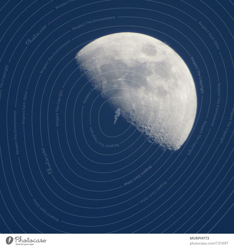 Moon in blue or moon on day II Crescent moon Sky blue Celestial bodies and the universe Moonlight Sunlight Glittering White Blue Colour sickle earth satellite