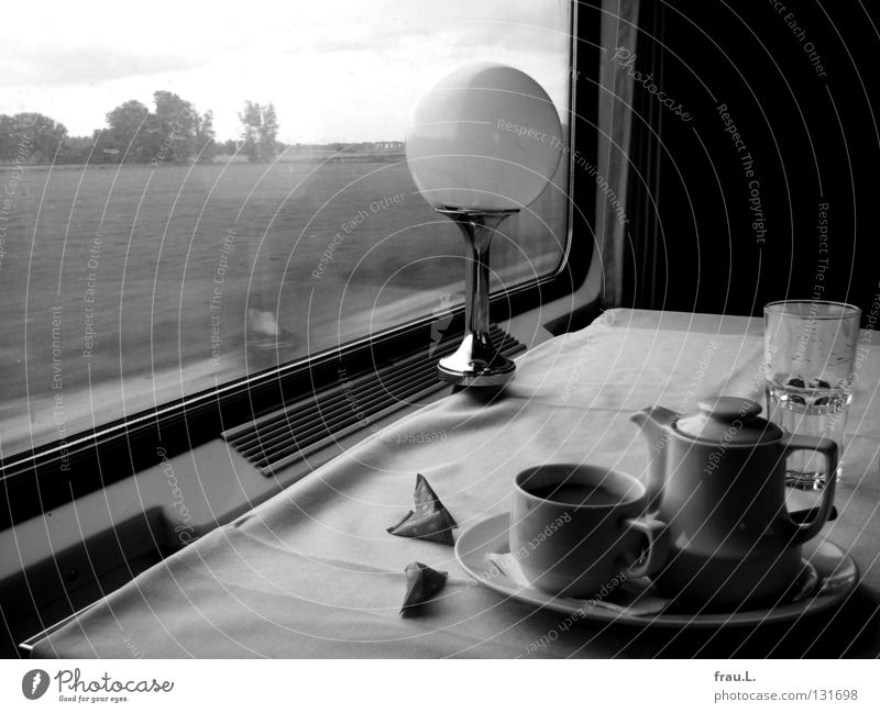 Vacation & Travel Calm Loneliness Nutrition Landscape Sadness Think Dream Lamp Room Time Wait Transport Railroad Coffee Cup