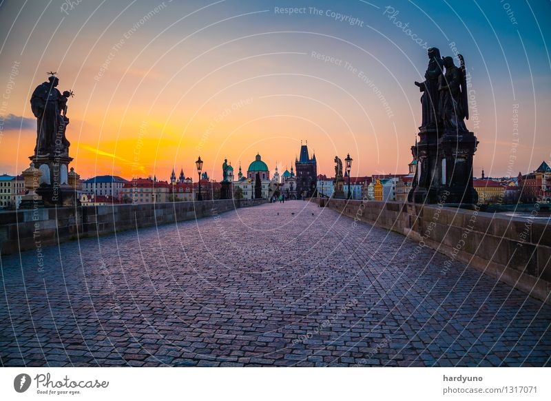 Morning atmosphere on Charles Bridge in Prague Tourism City trip House (Residential Structure) Sunrise Sunset River Czech Republic Europe Town Capital city