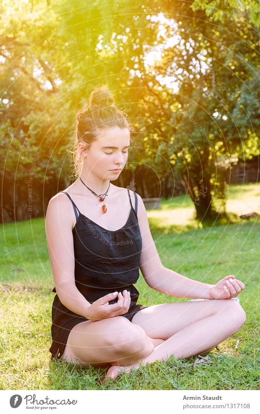 meditation Lifestyle Beautiful Healthy Wellness Relaxation Meditation Summer Yoga Human being Feminine Young woman Youth (Young adults) Woman Adults 1 Nature