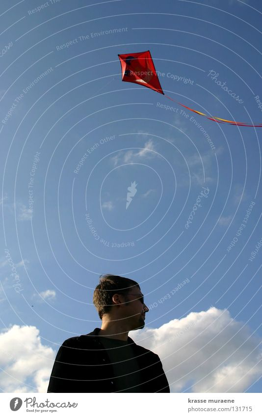 Human being Sky Man Blue White Red Joy Clouds Autumn Playing Freedom Wind Flying Tall Aviation Level