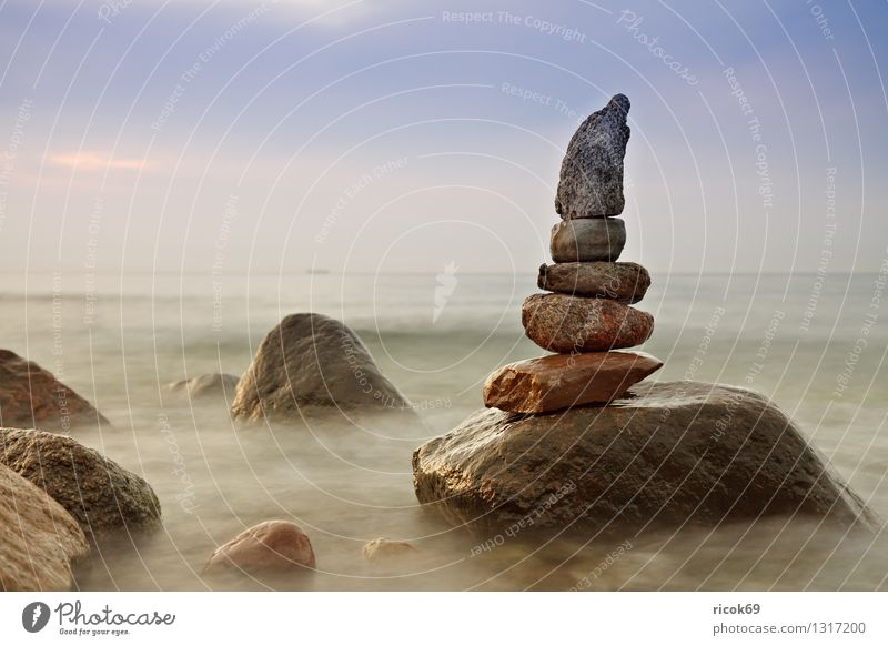 stone tower Relaxation Vacation & Travel Beach Nature Landscape Water Clouds Rock Coast Baltic Sea Ocean Tower Stone Blue Romance Idyll Tourism Target