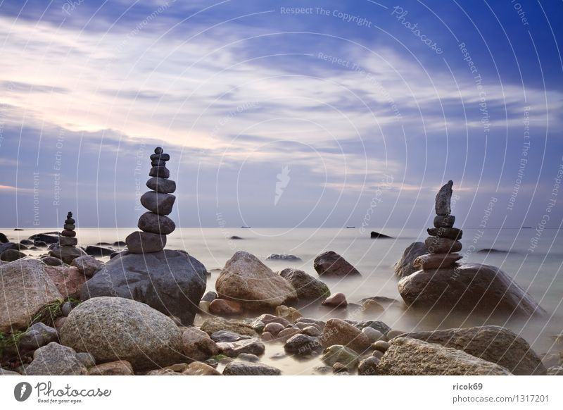 stone towers Relaxation Vacation & Travel Beach Nature Landscape Water Clouds Rock Coast Baltic Sea Ocean Tower Watercraft Stone Blue Romance Idyll Target