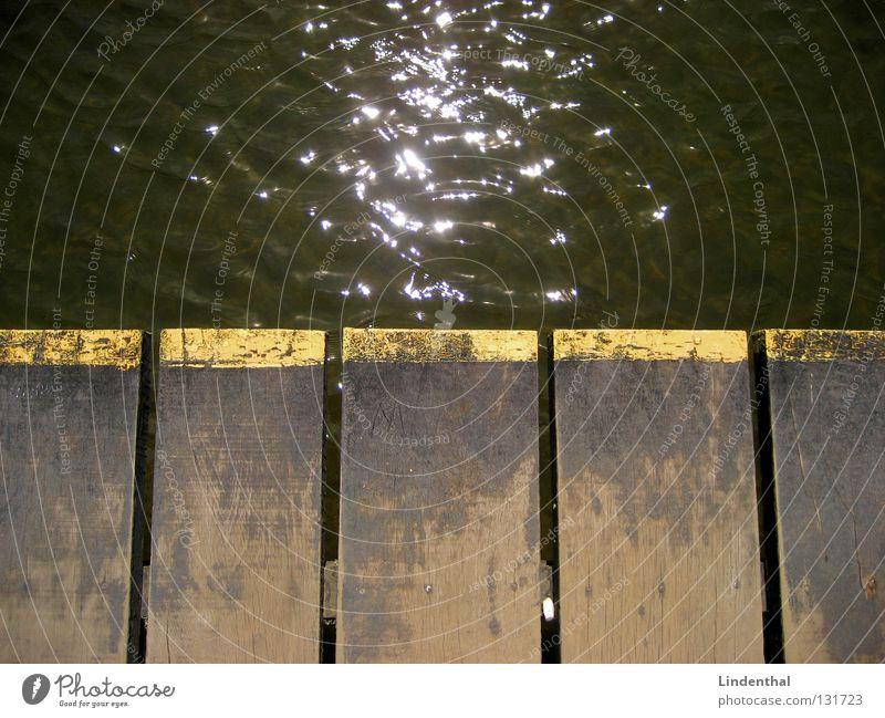 water sparkle Footbridge Glittering Sunbeam Wooden board Water Line border