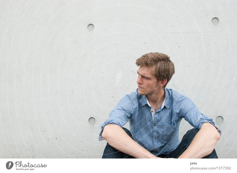 Thoughtful Calm Human being Young man Youth (Young adults) 18 - 30 years Adults Shirt Think Sit Authentic Sharp-edged Smart Reliability Secrecy Watchfulness