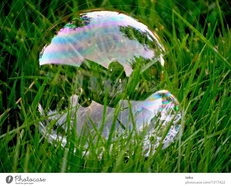 HOUSE IN BUBBLE Playing Children's game Circus Toys Balloon Sphere Thin Round Green Violet Pink Joy Soap bubble Soap suds Colour photo Exterior shot Detail