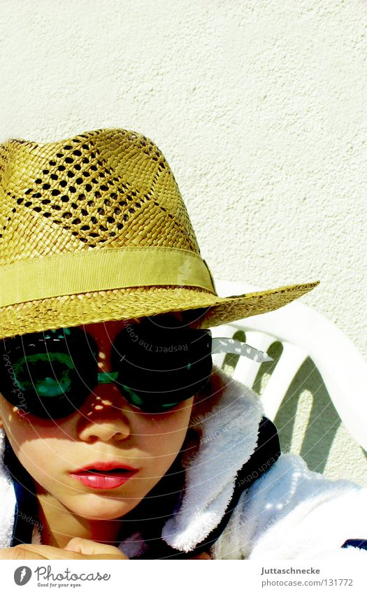 Child Sun Summer Joy Boy (child) Funny Cool (slang) Eyeglasses Chair Hat Hide Armchair Weather protection Camouflage Diving goggles Terry cloth