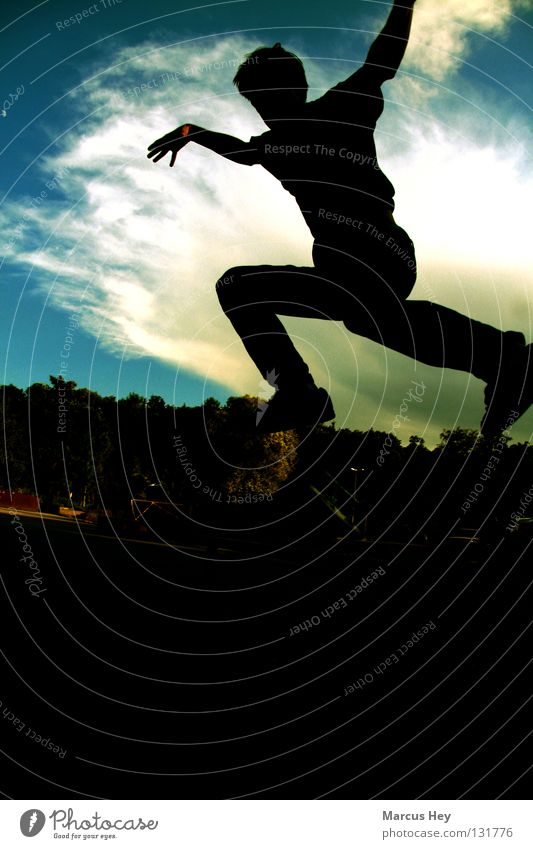 People can fly, too! Jump Foreground Background picture Silhouette Gastronomy Flying Shadow Movement