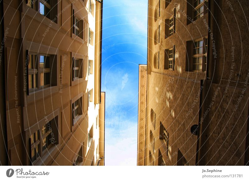 alley panorama House (Residential Structure) Sky built Window Claustrophobia Alley Town house (City: Block of flats) Narrow Sunlight Shadow Tall Facade