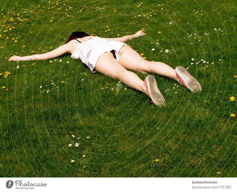 And out Woman Lie Outstretched Flat Knockout Fatigue Sleep Meadow Grass Flower meadow Fiasco Topple over Tumble down Completed Sounds of levity Enthusiasm