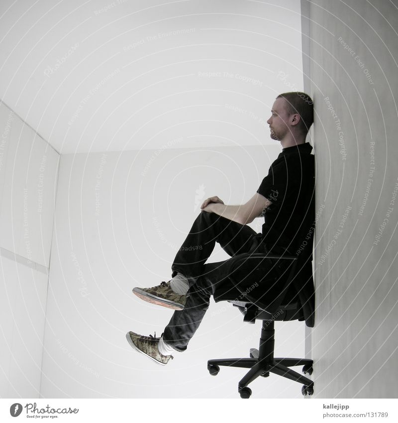Human being Man White Wall (building) Hair and hairstyles Office Lamp Lighting Work and employment Room Exceptional Sit Wait Electricity Cable Shows