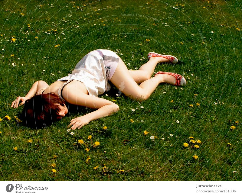 Woman Summer Meadow Death Grass Garden Legs Arm Sleep Lawn Communicate Lie To fall Fantastic Fatigue Flower meadow