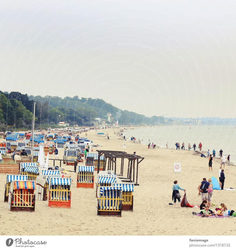 Timmendorfer Beach Relaxation Nature Landscape Sand Summer Beautiful Clouds Haze Timmendorf beach Baltic Sea Beach chair To go for a walk Ocean Germany Blue